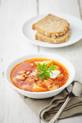 red soup borsch with meat