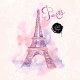 Fototapety Paris. Vector watercolor illustration