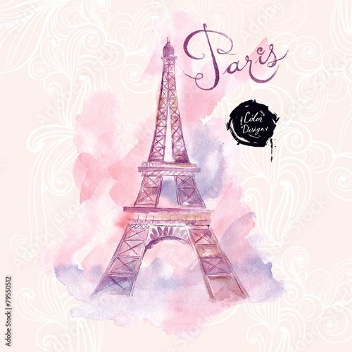 Fototapeta Paris. Vector watercolor illustration