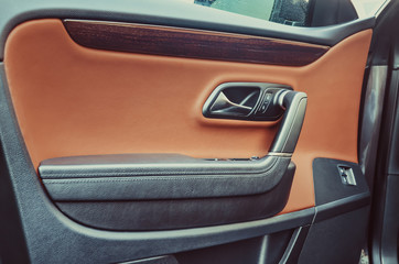 Car door, covered with leather