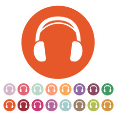The headphone icon. Sound symbol. Flat