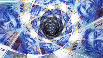 Background from  swiss franc banknotes in perspective view