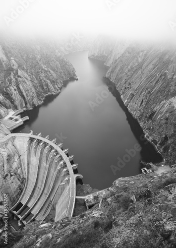 Poster Dam Landscape with river, cliffs and a dam in Spain