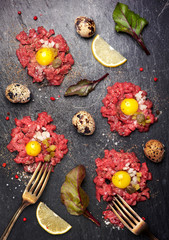 Beef tartare.  Top view. See series