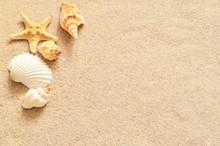 "Постер, картина, фотообои ""Seashells on sand"""