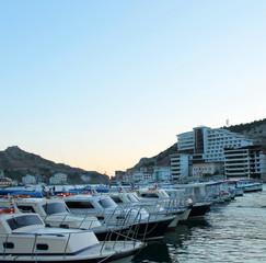 Yachts and marina at sunset on a summer day, Black Sea