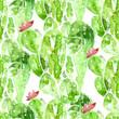 Seamless watercolor cactus pattern, - 79555126