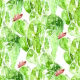 Seamless watercolor cactus pattern,