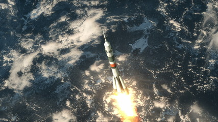"Carrier Rocket ""Soyuz"" Takes Off"