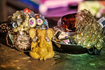 Ganesha statue with jewelry