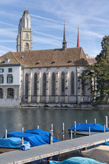 Zurich, the Limmat river and the Water Church