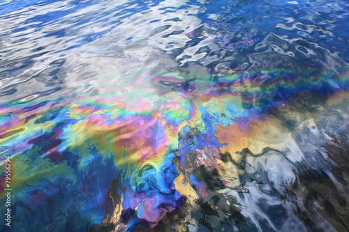 Leinwandbild Motiv Oil spill in Pearl Harbor