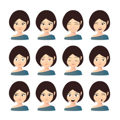 Female asian avatar expression set
