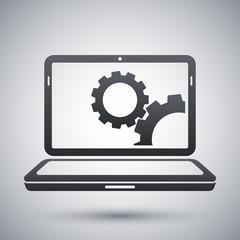 Vector laptop settings icon