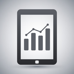 Vector tablet with business chart icon
