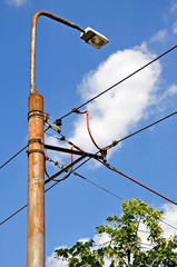 Street light and power cables on the pole