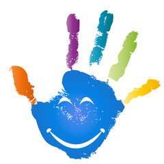 Conceptual children painted hand print and smile face isolated