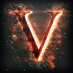 Red light letter V