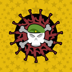 Emblem Military . Skull beret with weapons.