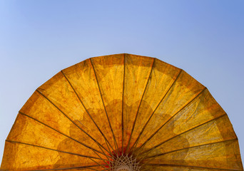The umbrella with blue sky background