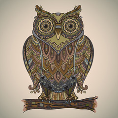 Vector illustration of beautiful decorative owl with a lot of de