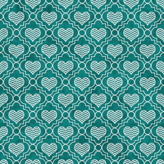 Teal and White Chevron Hearts Tile Pattern Repeat Background