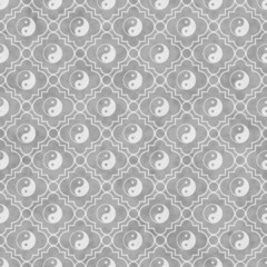 Gray and White Yin Yang Tile Pattern Repeat Background