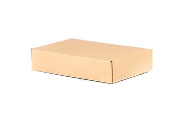 Closed cardboard box. Isoalted on white