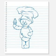 Sketch bear cook on a notebook
