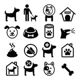 Dog, pet icons set - vet, dog's food, dog hotel - 79559739