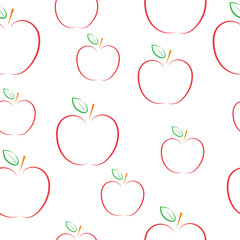 Pattern with apples on a white background.