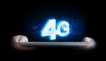 Business woman connecting to 4G