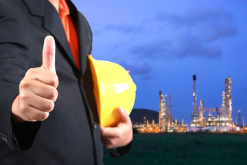 construction engineer with oil plant