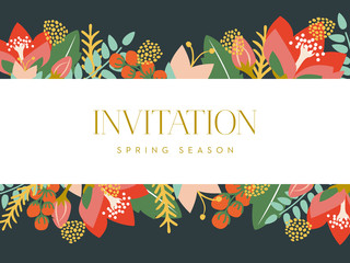 Invitation card with floral background. Vector design