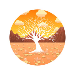 Glowing tree in the desert icon