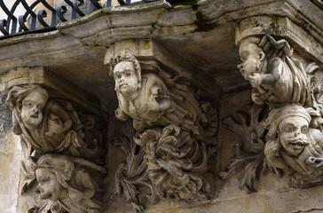 Italy, Sicily, Ragusa, Zacco Palace baroque facade and balcony