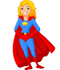 Cartoon female super hero posing