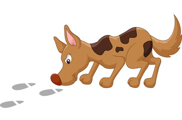 Cartoon dog sniffing footprint