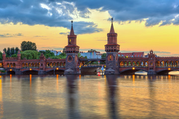 sunset at Oberbaum bridge, Berlin, Germany
