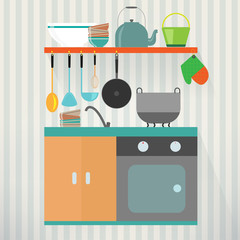 Kitchen with furniture. Flat style vector illustration.