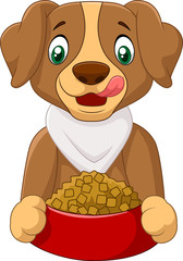Hungry dog with dog food