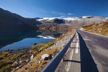 Norwegian road in mounrtains in autumn