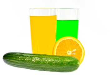 Orange, cucumber and their juices