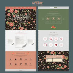 adorable floral one page website design template