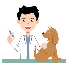 Vet and dog, vaccination, vector illustration
