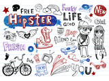 Hipsters doodle set - 79564544