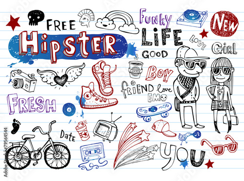 Hipsters doodle set - 79564544