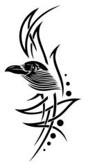 Tribal mit Krähe, Krähenkopf, Rabe
