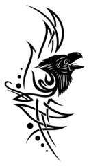 Tribal mit Rabe, Rabenkopf, Krähe