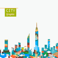 City landscape with colorful geometric graphic